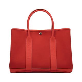 Hermès Rouge Tomate and Capucine Garden Party 36cm of Canvas and Country