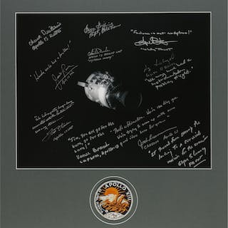 [APOLLO 13]. BLACK AND WHITE PHOTOGRAPH, SIGNED AND INSCRIBED BY JAMES
