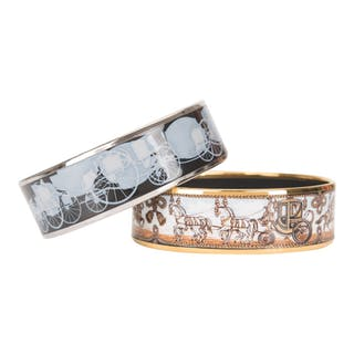 Hermès Set of Two Horse and Carriage Themed Wide Printed Enamel Bracelets
