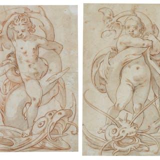 CIRCLE OF CHRISTOPH GERTNER | Two drawings of children frolicking