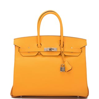 Hermès Horseshoe Stamped (HSS) Bi-color Jaune D'Or and Sanguine Birkin
