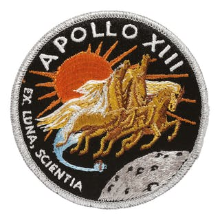 [APOLLO 13]. FLOWN ON APOLLO 13. AB EMBLEM MISSION PATCH, FROM THE