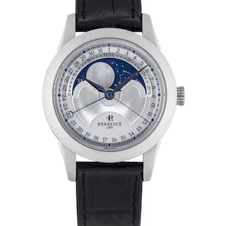 PERRELET |  REF A1039 STAINLESS STEEL WRISTWATCH WITH DATE AND MOON