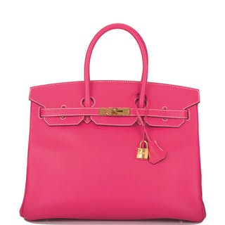 Hermès Rose Tyrien Birkin 35cm of Epsom Leather with Gold Hardware