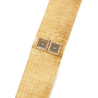 GOLD AND DIAMOND BRACELET-WATCH