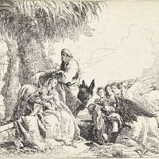 GIOVANNI DOMENICO TIEPOLO | REST ON THE FLIGHT INTO EGYPT; THE HOLY