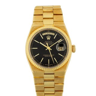 ROLEX | OYSTERQUARTZ DAY-DATE, REF 19018 YELLOW GOLD WRISTWATCH WITH
