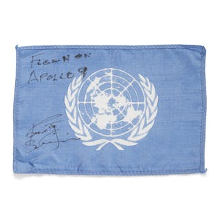 [APOLLO 9]. FLOWN ON APOLLO 9. UNITED NATIONS FLAG FROM THE COLLECTION