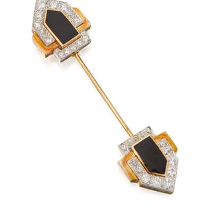 GOLD, ENAMEL AND DIAMOND JABOT PIN, DAVID WEBB