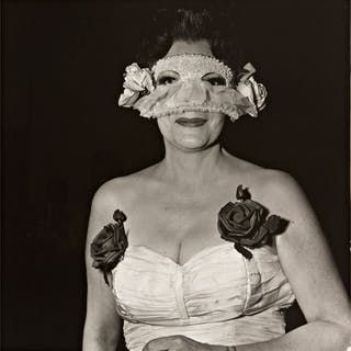 DIANE ARBUS | 'LADY AT A MASKED BALL WITH TWO ROSES ON HER DRESS, N. Y. C.'