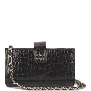 Chanel Black Shiny Alligator Mini Clutch with Light Gold Tone Hardware