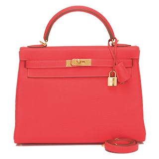 Hermès Rose Jaipur Retourne Kelly 32cm of Clemence Leather with Gold Hardware