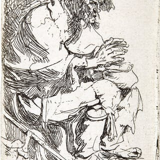 REMBRANDT HARMENSZ. VAN RIJN | BEGGAR SEATED WARMING HIS HANDS AT