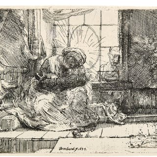 REMBRANDT HARMENSZ. VAN RIJN | THE VIRGIN AND CHILD WITH THE CAT AND
