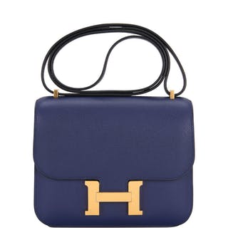 Hermès Constance 18cm of Bleu Encre Evercolor Leather with Gold Hardware