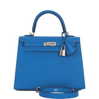 Hermès Bleu Zellige Sellier Kelly 25cm of Epsom Leather with Palladium Hardware