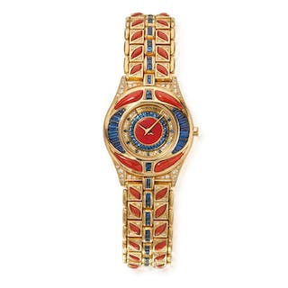 GOLD, CORAL, SAPPHIRE AND DIAMOND WRISTWATCH, MAUBOUSSIN