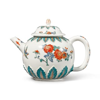 A MEISSEN DUTCH-DECORATED TEAPOT AND COVER THE PORCELAIN CIRCA 1715