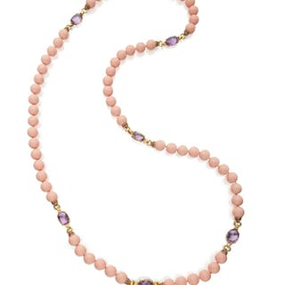 GOLD, HARDSTONE AND AMETHYST SAUTOIR, ANDREOLI