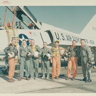 "[PROJECT MERCURY]. VINTAGE NASA ""RED NUMBER"" PHOTOGRAPH OF THE MERCURY FLYERS"