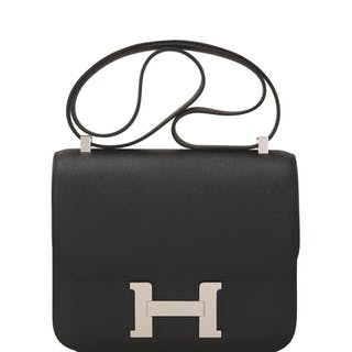 Hermès Black Constance 24cm of Epsom Leather with Palladium Hardware