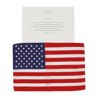 [APOLLO 16]. FLOWN ON APOLLO 16. LARGE UNITED STATES OF AMERICA FLAG