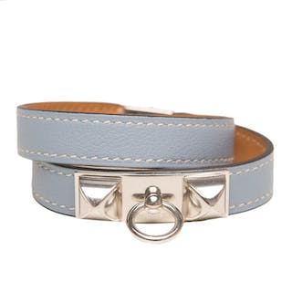 Hermès Bleu Lin Rivale Double Tour Bracelet of Calfskin Leather with