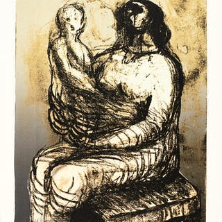 HENRY MOORE   MOTHER WITH CHILD ON LAP (C. 651)