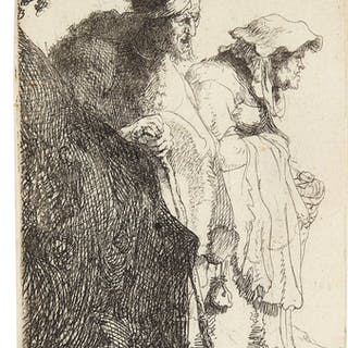 REMBRANDT HARMENSZ. VAN RIJN | BEGGAR MAN AND WOMAN BEHIND A BANK