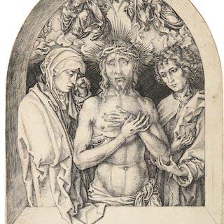 MARTIN SCHONGAUER | THE MAN OF SORROWS BETWEEN THE VIRGIN AND ST JOHN