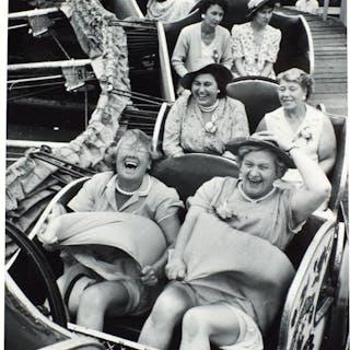 GRACE ROBERTSON | ON THE CATERPILLAR, WOMEN'S PUB OUTING, CLAPHAM, LONDON, 1956