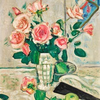 GEORGE LESLIE HUNTER |  PINK ROSES (RECTO); STILL LIFE OF ROSES IN