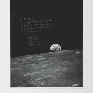 [APOLLO 8]. EARTHRISE. BLACK AND WHITE PHOTOGRAPH SIGNED AND INSCRIBED