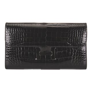 "Hermès ""So Black"" Constance Long Wallet of Black Shiny Mississippiensis"