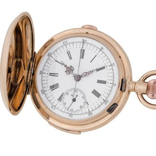 LECOULTRE | PINK GOLD HUNTING-CASED MINUTE-REPEATING CHRONOGRAPH WATCH