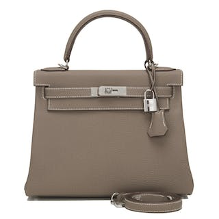 Hermès Etoupe Retourne Kelly 28cm of Togo Leather with Palladium Hardware