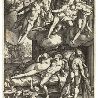 HENDRICK GOLTZIUS | MARS AND VENUS SURPRISED BY VULCAN (B. 139; H.