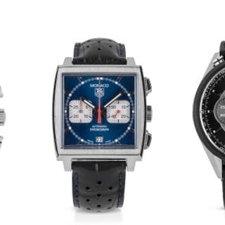 TAG HEUER | THREE STAINLESS STEEL AND PVD-COATED TITANIUM CHRONOGRAPH