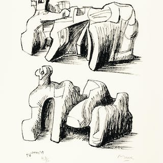 HENRY MOORE | TWO ROCK RECLINING FIGURES; AND MOTIF IN RED BLUE AND