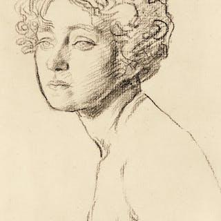 AUGUSTUS JOHN, R.A.   STUDY OF A FEMALE NUDE, BUST-LENGTH