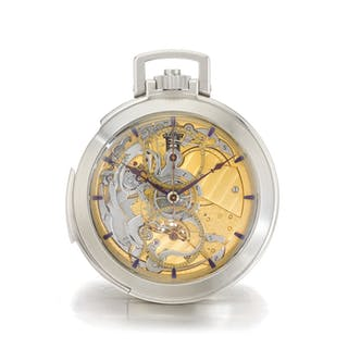 MICHEL ROCHAT | A WHITE GOLD OPEN FACED SEMI SKELETONIZED MINUTE REPEATING