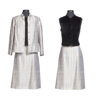 GEORGIA O'KEEFFE   GRAY TWO-PIECE SKIRT SUIT BY K. C. CHANG, MADE