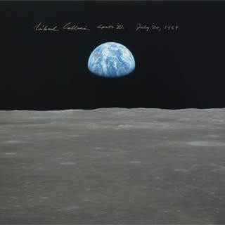 [APOLLO 11]. EARTHRISE. COLOR PHOTOGRAPH, SIGNED AND INSCRIBED BY
