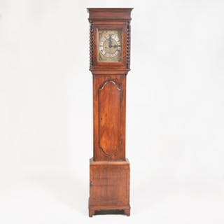 William and Mary Brass-Inlaid Oak Longcase Clock