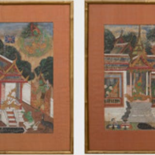 Thai School: Pavilion Scene with the British Flag; and Pavilion Scene