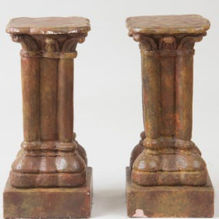 Pair of Hispano-Philippine Painted Composition Pedestals
