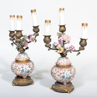 Pair of Gilt-Metal-Mounted Chinese Porcelain Censer Mounted as Three-Light