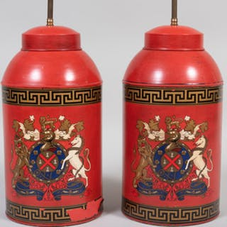 Pair of Red Painted Tea Canisters Mounted as Lamps