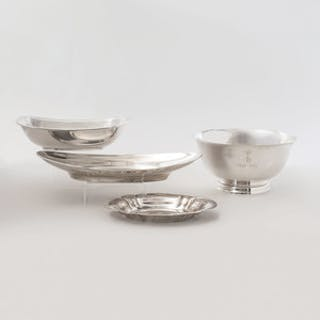 Two Gorham Silver Serving Dishes, a Tiffany Silver Dish, and Another