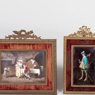 Two Continental Enamel on Copper Plaques in Louis XVI Style Frames